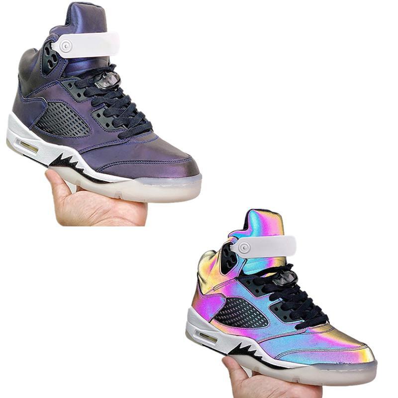 Air Jordan 5 WMNS 2020 nouveau cuir imperméable extérieur chaussures casual hommes violet chaussures sport mode lumineux réflexion confortable pied avec l'emballage de boîte