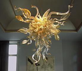 Lámparas Antiguo Boda Hogar Decorativo Luces Luces Diseño de hoja único Ahorro de energía Fuente de luz Hand Blown Blown Art Glass Chandelier