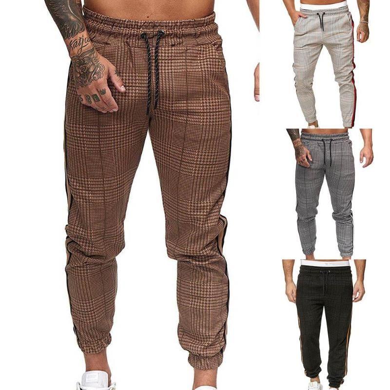 Hombres bolsillos de los pantalones ocasionales de la raya de la tela escocesa del cordón Imprimir Pantalones largos Pantalones tobillo-atado presente del día de San Valentín Pantalones Para el hombre