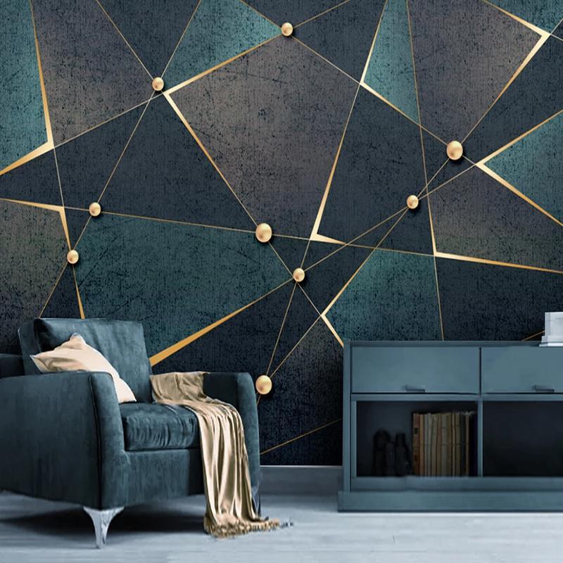 Fond d'écran auto-adhésif moderne Creative lignes géométriques 3D d'or toile abstraite imperméable photo Murales Salon autocollant 3D