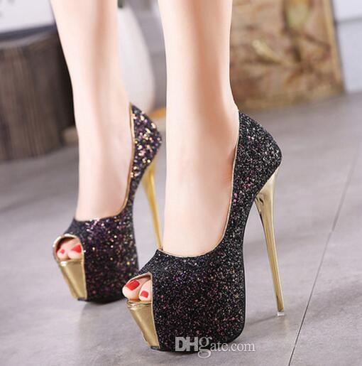 16 cm high heels 2019 new stiletto sexy nightclub fashion single shoes classic elegant fish mouth super high heel women's shoes