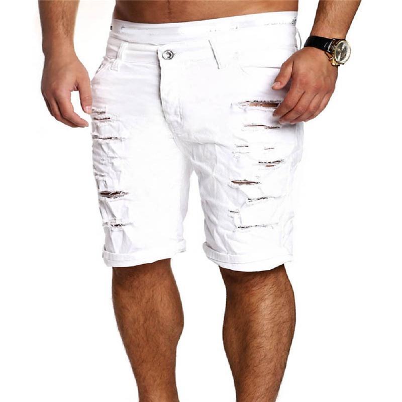 Мода 2017 лето дизайнер мужские джинсы бренд разорвал отверстие высокое качество длина до колена джинсы мужские повседневные джинсовые короткие брюки
