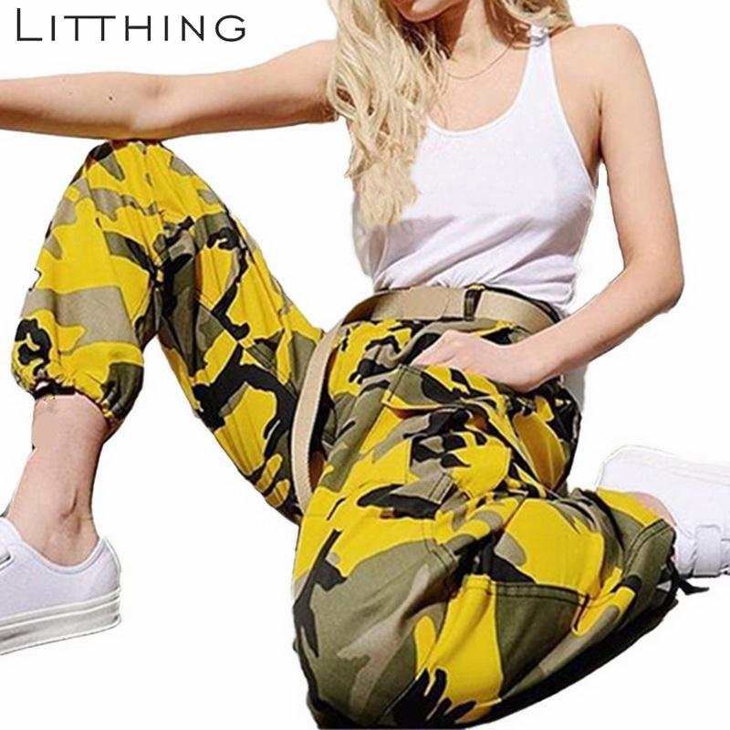 Litthing New Women Camo Cargo High Waist Hip Hop Trousers Pants Military Army Combat Camouflage Long Pants Hot Capris Y19071801