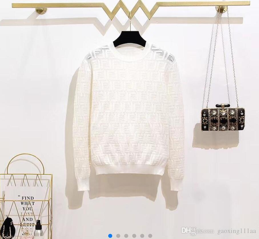 2019 새로운 럭셔리 여성 브랜드 스웨터 우아한 긴 소매 편지 레저 뜨개질 셔츠 목 싱글 브레스트 가디건 니트 스웨터