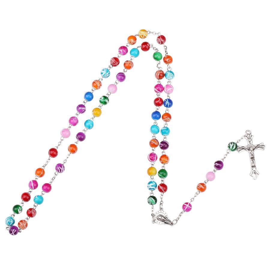 Colar Pingente toda saleNingXiang 12pcs / lot Católica Rosário Cruz Alta Qualidade colorido acrílico Beads religiosa Jesus Colar Unisex