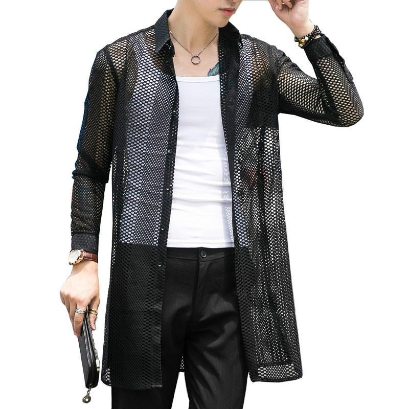 Homens Moda Casual oco malha longos da luva do Homem Longo translúcido Cardigan Black White shirt Jacket Stage Roupas
