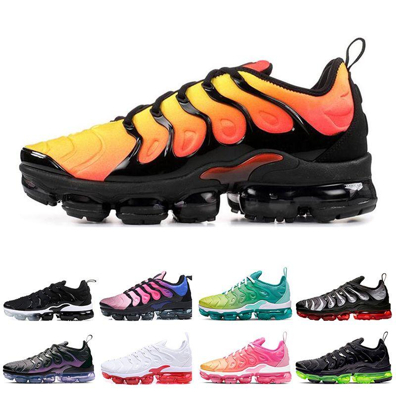 Classic TN Plus Mens Womens Running Shoes Rainbow Bumblebee Lemon Lime Aurora Green Triple Black White women sports sneakers Size 36-45