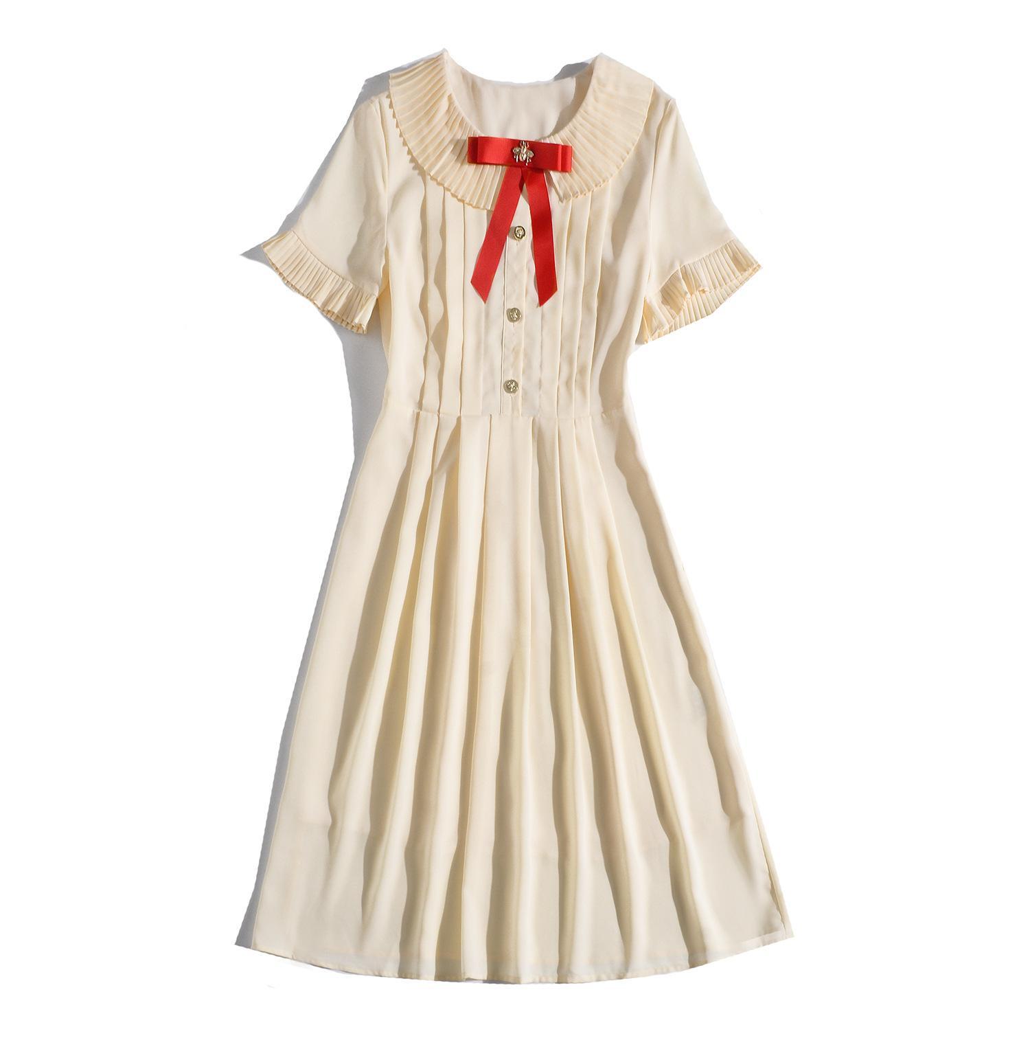 2019 Summer Fall Short Sleeve Crew Neck Contrast Color Pleated Mid-Calf Length Dress Luxury Runway Dresses MAY3117JYJ5
