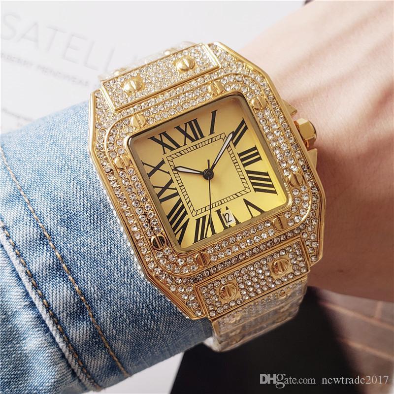 Fashoin homens relógios de marca mulheres assistem movimento de quartzo todos os diamantes para fora congelado relógio de designer relógios de alta qualidade senhora relógios montre de luxe