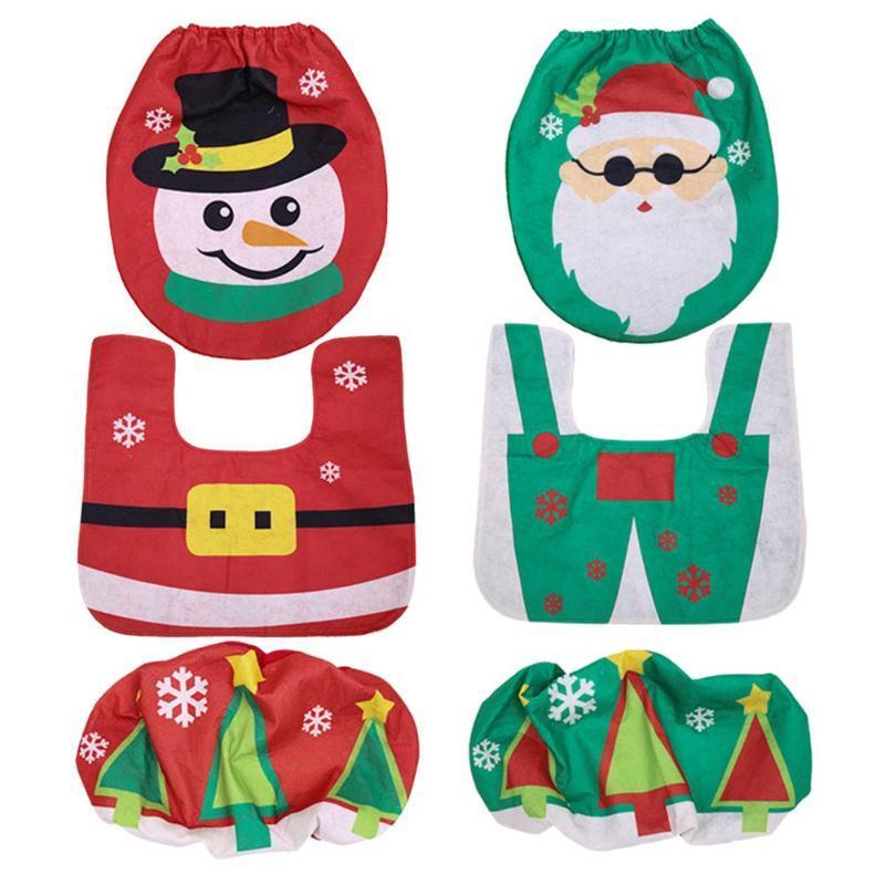 3pcs / set de Noël Père Noël Bonhomme de neige Antiderapant Tapis salle de bains toilettes Housse de siège