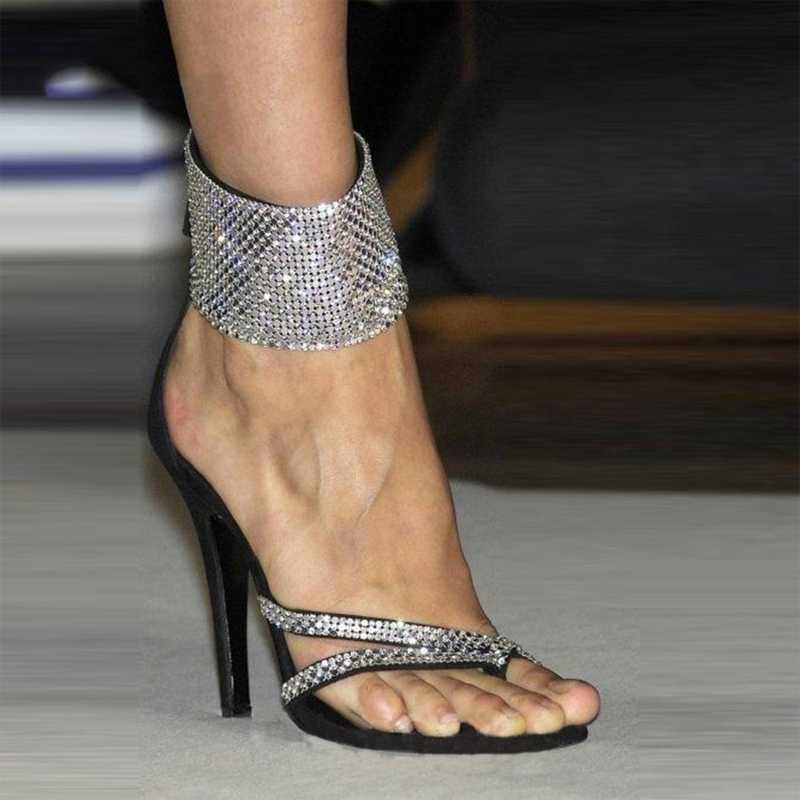 Mulheres sapatos de salto alto 2020 Nova Primavera-Verão Abertas Salto Toe Sandals Mulheres Rhinestone Sexy Tamanho 36-41 Sandálias De Mujer