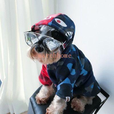 Tide Shark Head Pets Apparel Tinto E Azul Patchwork Camo Sweatshirts Autumn Winter Dog Outwear Free Shipping