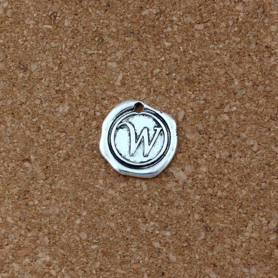 "Antique Silver Single side Letter ""W"" Disc Initial alloy Charms Pendants DIY Accessories 18x18.5MM 100pcs/lots A-462"