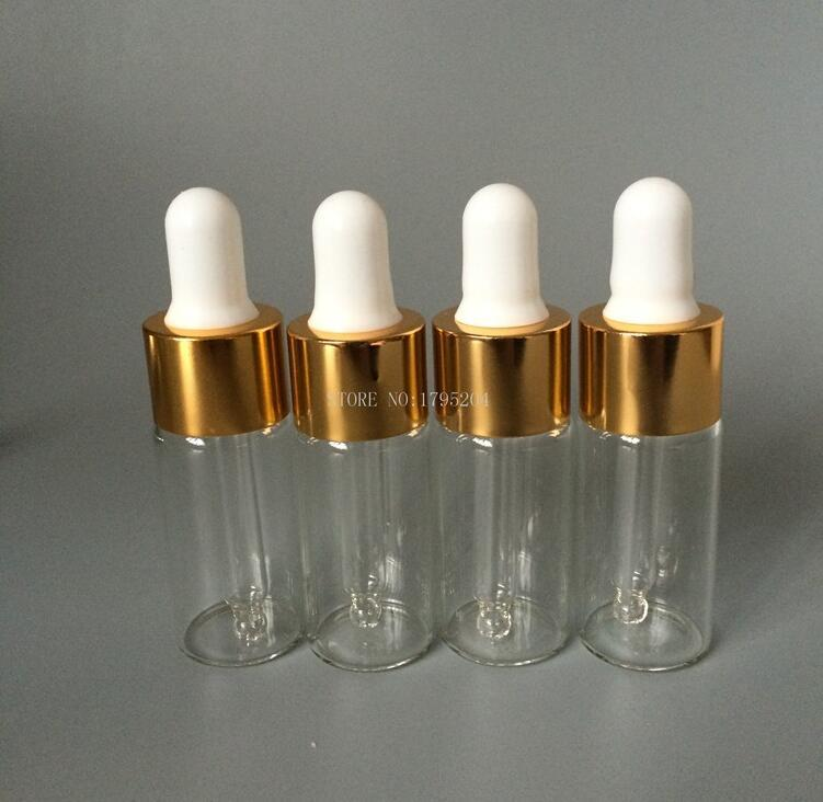 parfüm için altın ve gümüş kapak kap Boş uçucu yağlar ile 10ml / cc Cam Damlalık Şişe Şeffaf berrak Şişe