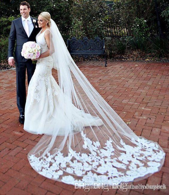 2018 One Layer White 3m Wedding Brial Veils Applique in pizzo Cattedrale avorio Lungo velo da sposa per abito da ballo