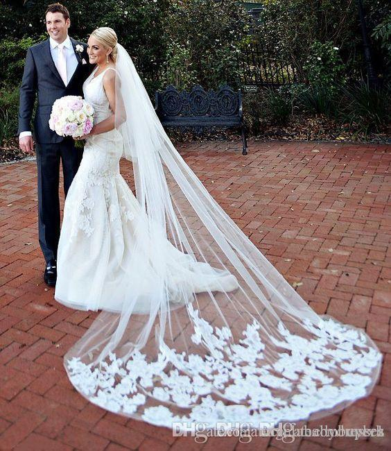 2018 One Layer White 3m Wedding Brial Veils Lace Applique Cathedral ivory Long Bridal Veil For Ball Gown