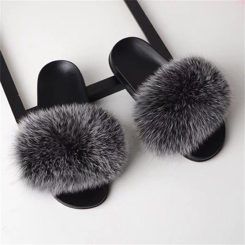 2020 nouvelle vente Bravalucia Fahion vrais cheveux Automne / Hiver Chaussons femmes fourrure Pantoufles Fluffy Sliders en peluche Furry Accueil Chaussures Femmes MODIS