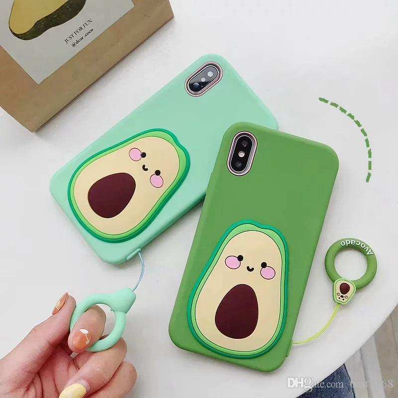 Avocado 3D Soft Silicone Case For Iphone 11 Pro XR XS MAX X 10 8 7 6 Rubber Cartoon Fashion Luxury Cell Phone Back Skin Cover +Strap Lanyard