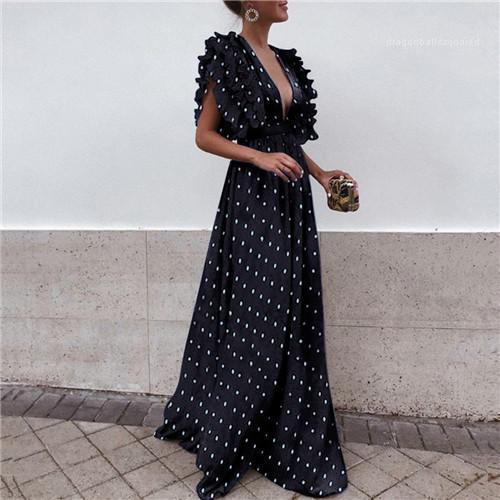 كم فساتين V الرقبة نقطة طباعة عارضة الازياء طول الملابس الطابق أنثى الملابس النسائية الصيف شبيه بجناح الخفاش
