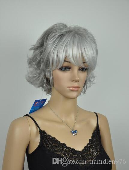 Free shipping>>>New Hot Fashion fancy silver gray short wigs for women hair wig