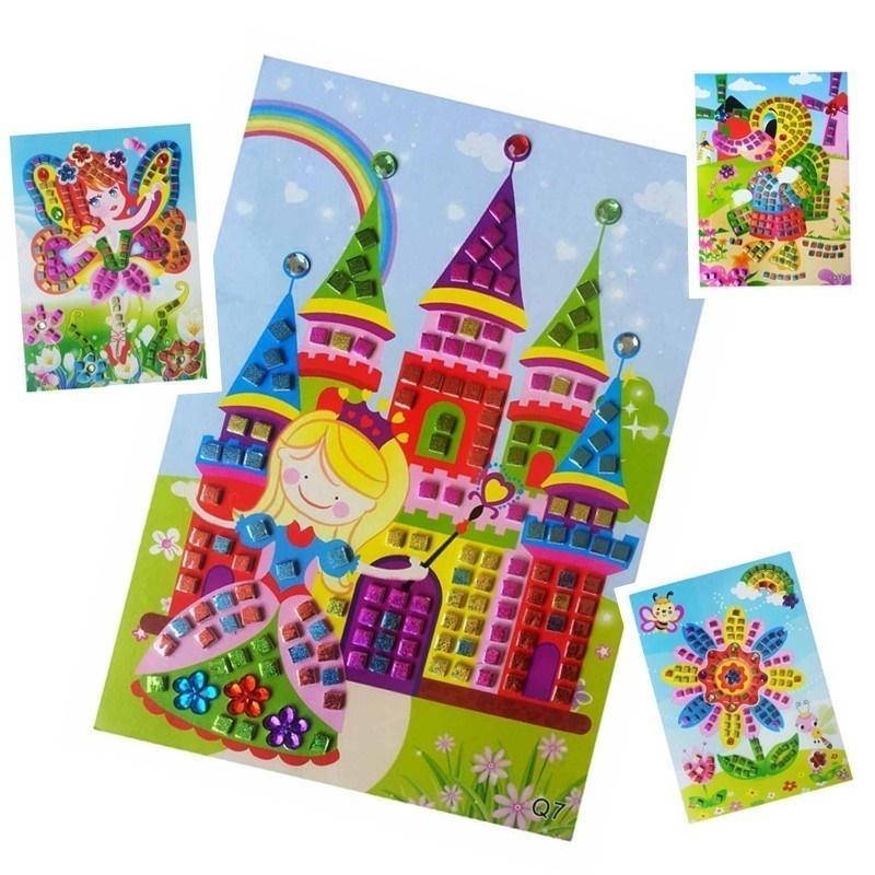 12 unids / lote Mosaico Pegatinas Puzzle Juguetes Para niños Brillo Eva Jardín de Infantes Bebé Diy Arte Artesanía Preescolar Brinquedos Oyuncak 18 SH190715