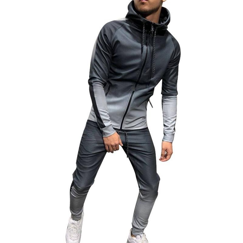2019 Autunno uomini tuta con cappuccio Imposta Sweatsuit matita pantaloni sottili gradiente jogging Palestra Jogging Fashion Casual Uomo Imposta Sportwear
