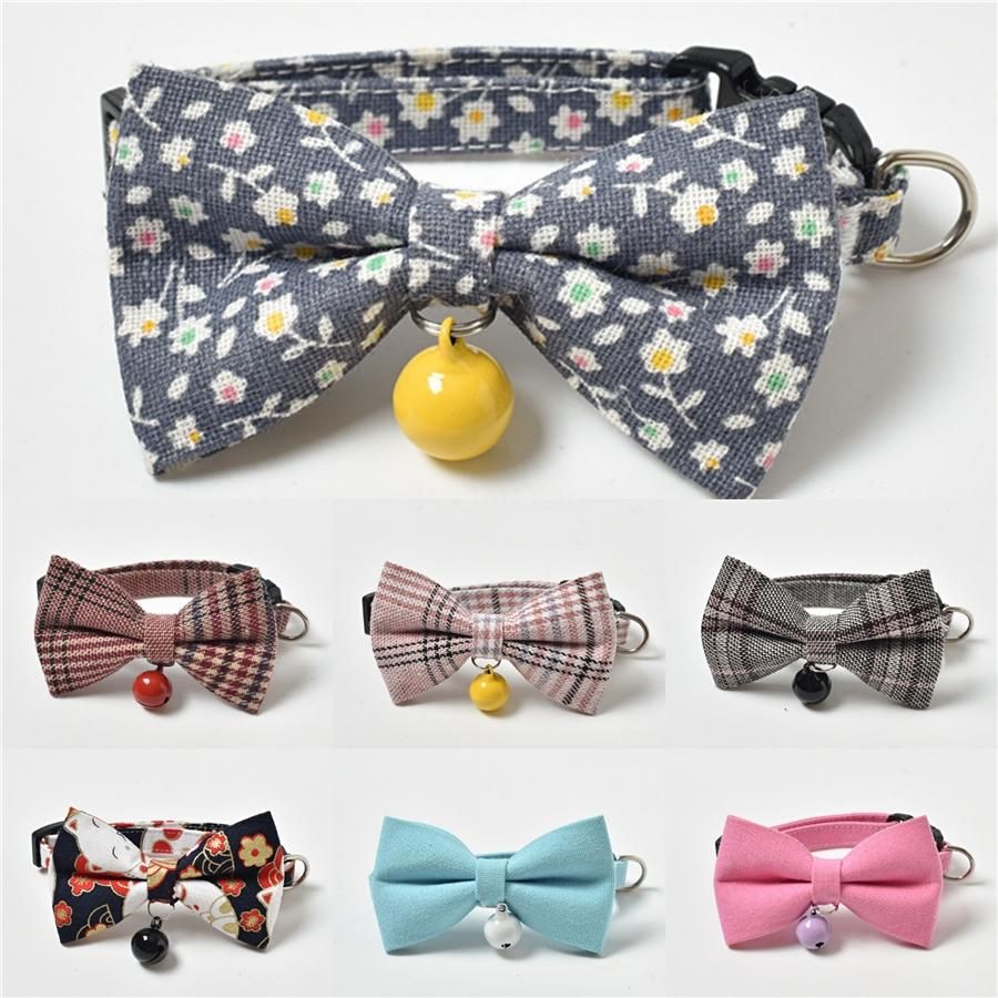 Factory Japanese Cartoon Style Sakura Printed Bow Small Cats Dogs Puppy Tie Bowknot Collar Chain Necklace Wedding Christmas Party Bowtie #487