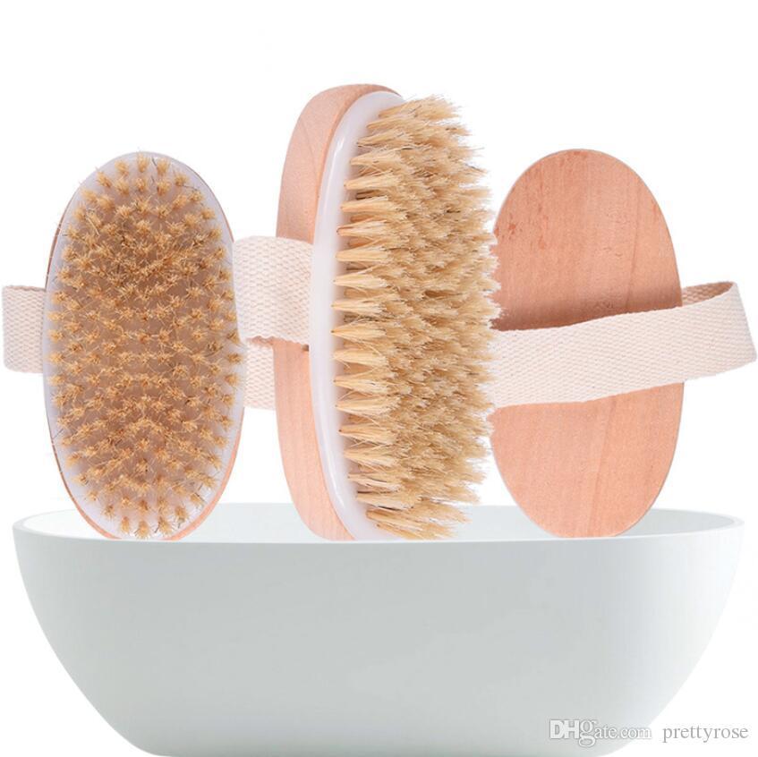 Cepillo seco para el cuerpo Cerda natural de jabalí Cepillo corporal de piel seca orgánica Cepillo de bambú para la espalda húmeda Cepillos de baño exfoliantes Cepillo suave