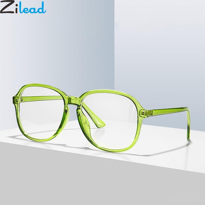 Zilead surdimensionné carré Lunettes Cadre Jelly Couleur Transparent lentille optique Sepectacles pour les hommes Femmes ordinaires Lunettes Lunettes