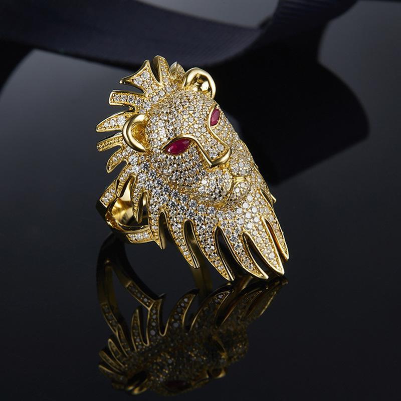 Moda popular Mujeres Anillos de oro amarillo Plateado Full CZ Lion Ring para las mujeres para las mujeres para la fiesta de bodas Niza Regalo