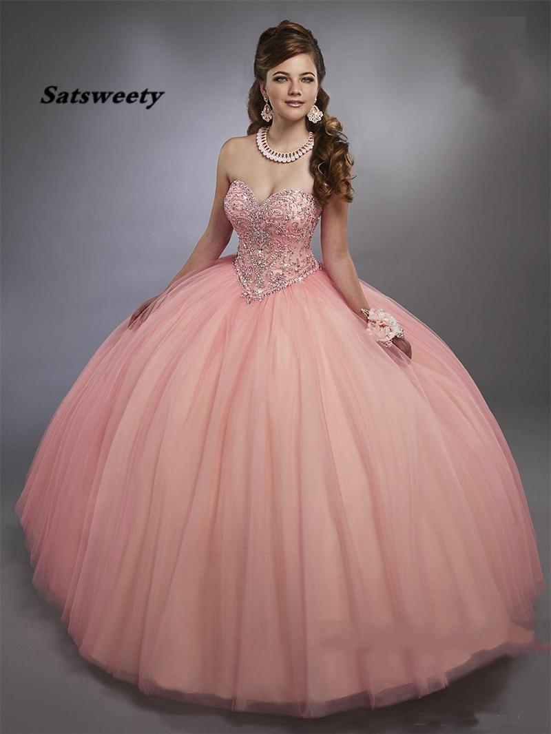 Blush Pink Ball Gown Quinceanera Dresses Corset Lace-up Back Bling Bling Crystals Girl Party Gowns Ball Gown Sweet 15 Dresses