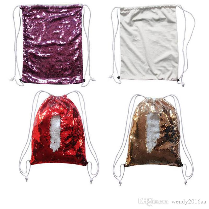 50pcs 45x35cm Sublimation Magic Sequins Blank Backpack Drawstring Bags Outdoor Sports Glitter hot transfer printing DIY Consumables