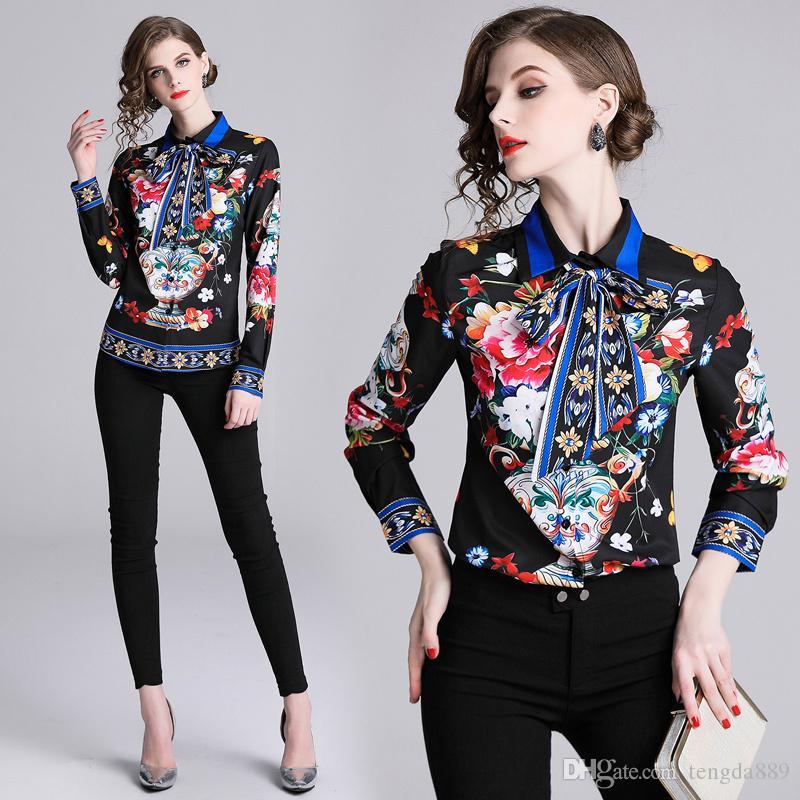 Venta al por mayor 2019 Primavera Otoño Pista de verano Impreso Floral Pajarita Cuello Dama Mujer Casual Botón de oficina Delantero abajo de manga larga Top camisa Blusa