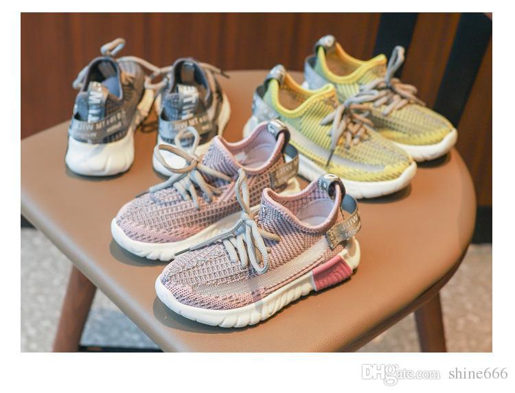 Kızlar spor ayakkabı 2019 bahar yeni Koreli çocuklar fly dokuma nefes koşu ayakkabıları erkek ebeveyn-çocuk hindistan cevizi ayakkabı gelgit