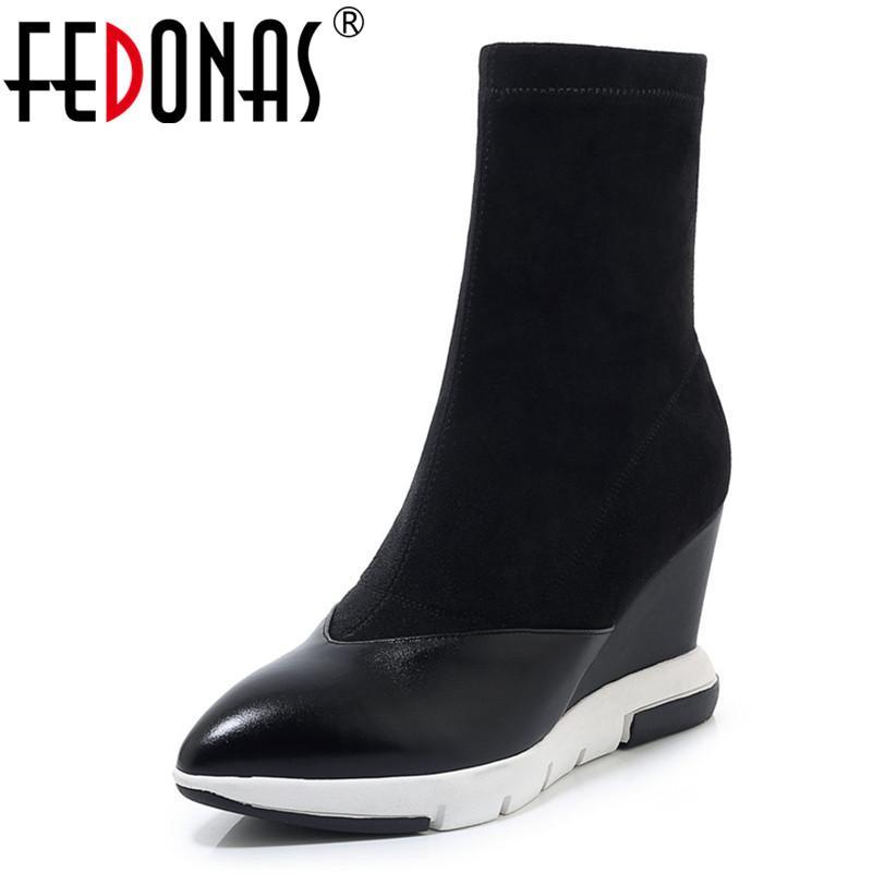 FEDONAS Kadınlar Bilek Boots Seksi Sivri Burun Sonbahar Kış Parti Kadın Yüksek Topuklar Ayakkabı Kalite Gerçek Deri Çorap Çizme