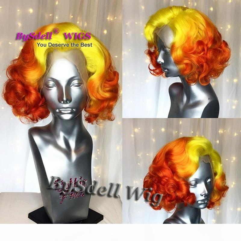 Celebrity Marilyn Monroe Short Wavy Hairstyle Lace Front Wig Yellow Ombre Red Color Loose Wave Hair Lace Front Wigs for stage Cosplay Show