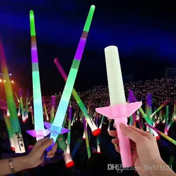 Spread the hot flash magic four section telescopic sword stick light flash stick Concert Night Market of children's toys