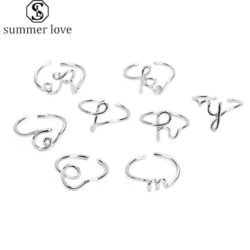 Creativas 26 A-Z Inglés Letter Anillos iniciales simples anillo abierto del color de plata regalos ajustables de la joyería del alfabeto Inglés para señora Girls-Y