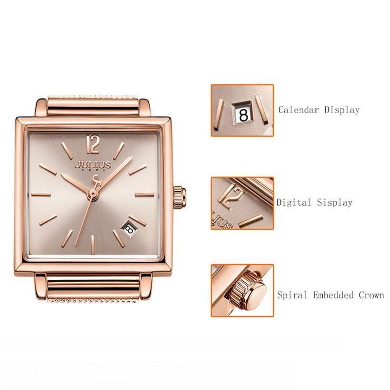 Julius Women Stainless Steel Mesh Bracelet Watches Date Display Ladies Quartz Watch Luxury Square Rose Gold Female Wristwatch MX200320