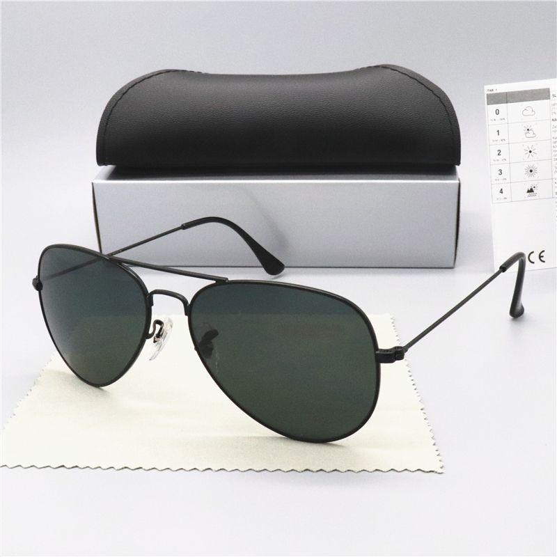 حار بيع الإطار تصميم العلامة التجارية النظارات الشمسية خمر الطيار العلامة التجارية نظارات شمسية فرقة UV400 رجل إمرأة بن معدن زجاج عدسة مع صندوق 3025