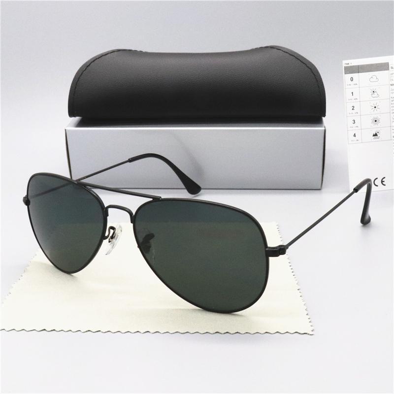 상자 3025 핫 판매 브랜드 디자인 선글라스 빈티지 파일럿 브랜드 태양 안경 밴드 UV400 남성 여성 벤 금속 프레임 유리 렌즈