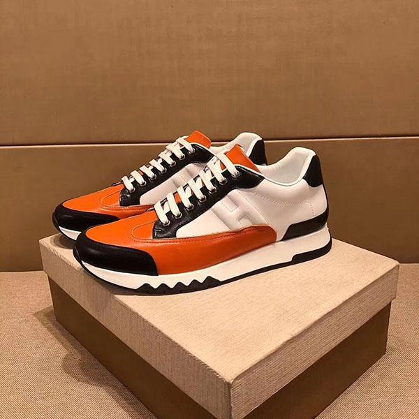 Hermes 2020 nuevo diseñador lujo de la marca H zapatillas de deporte superiores de cuero de vaca hombres de la manera zapatos planos ocasionales cómodos zapatos de RDX01