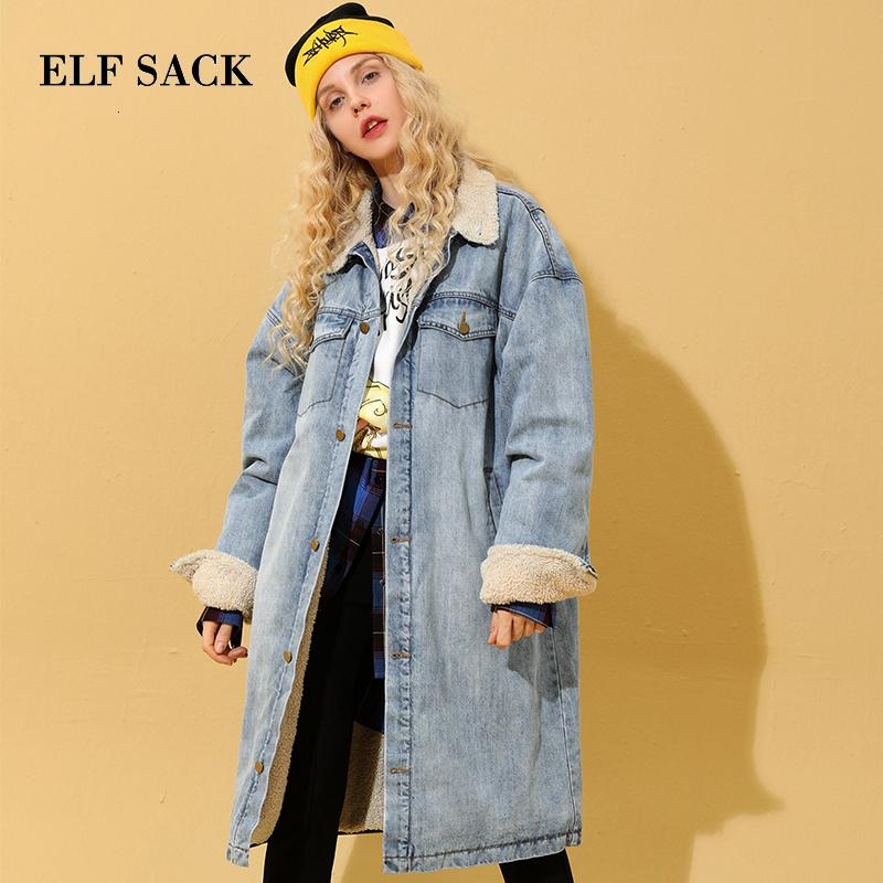 ELF SACK Azul Pure Duplo bolso aconchego Casual Brasão Denim Mulheres longa jaqueta 2019 Inverno Lazer Oversized Feminino Outwear T190918