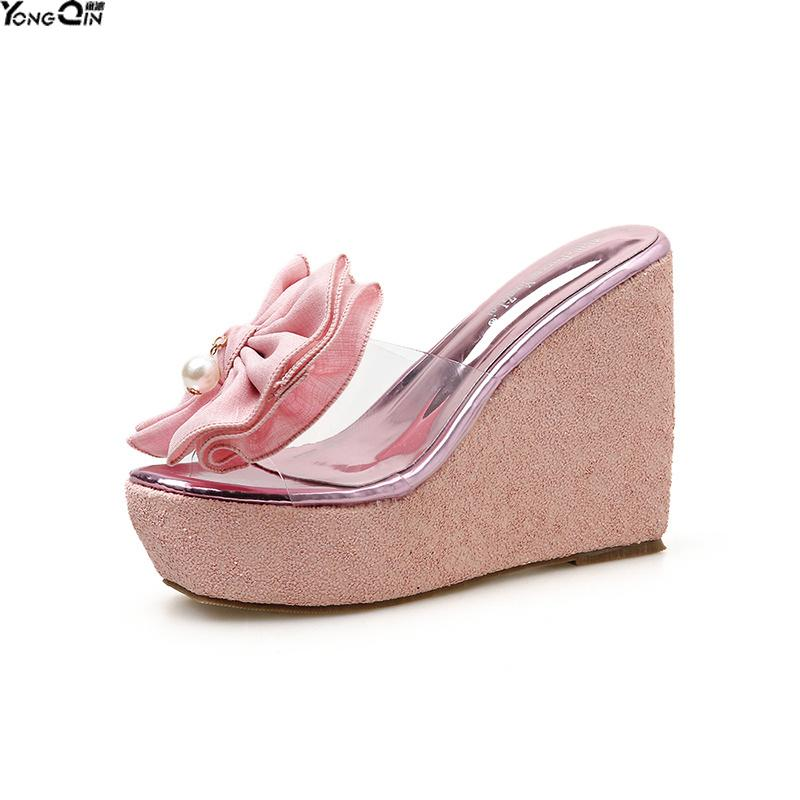 Nouvelles fleurs sauvages Wedge femmes de talons hauts sandales 12cm talons sandales plate chaussures