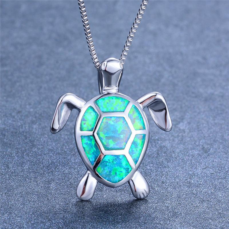 Boho Mode Femme Opale Bleu Blanc Vert feu Collier Argent 925 Collier Pendentifs Grande Tortue Colliers pour les femmes