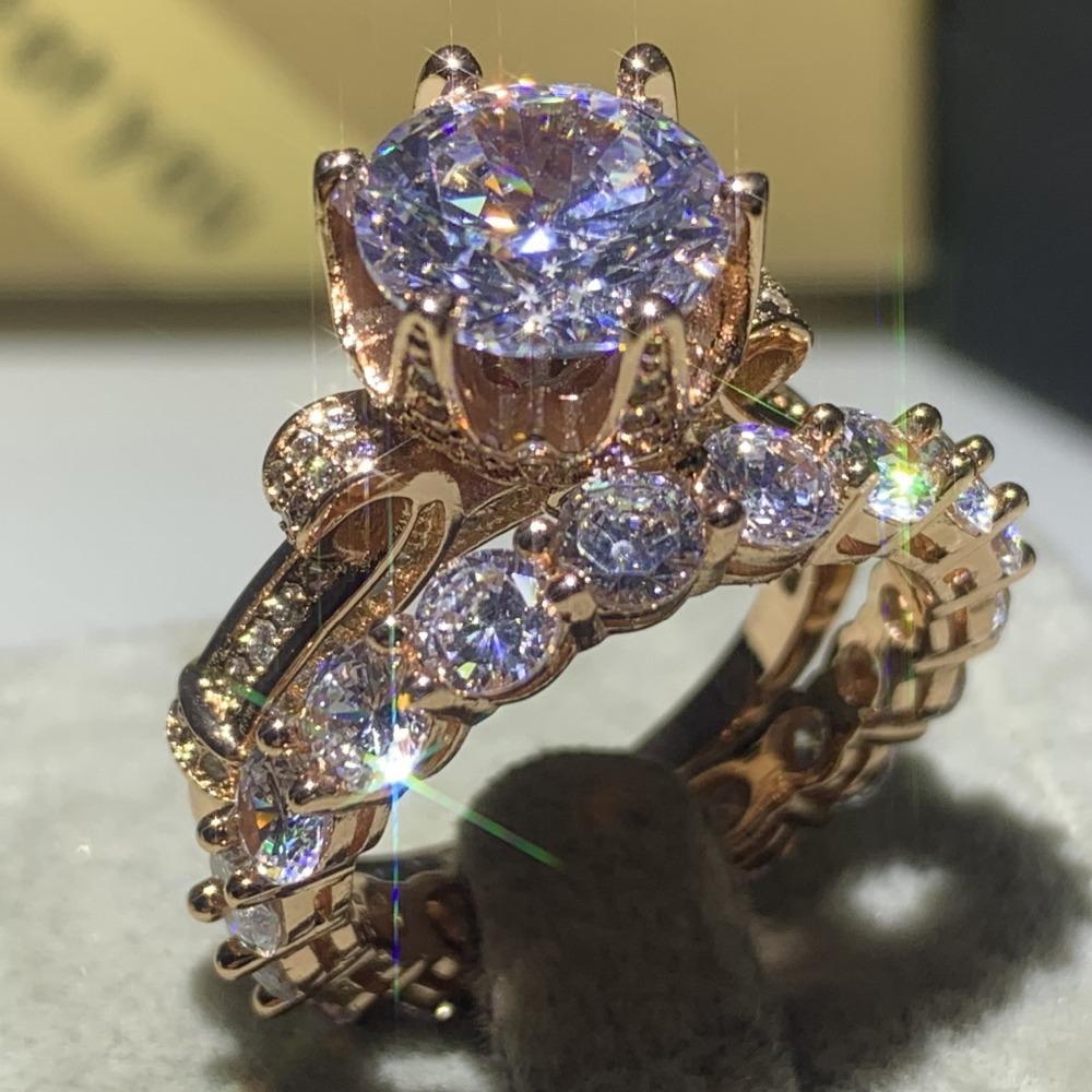 Drop Shipping высокое качество классические роскошные ювелирные изделия стерлингового серебра 925 пробы золото заполнение круглый вырез 5A CZ свадебная Корона кольцо комплект