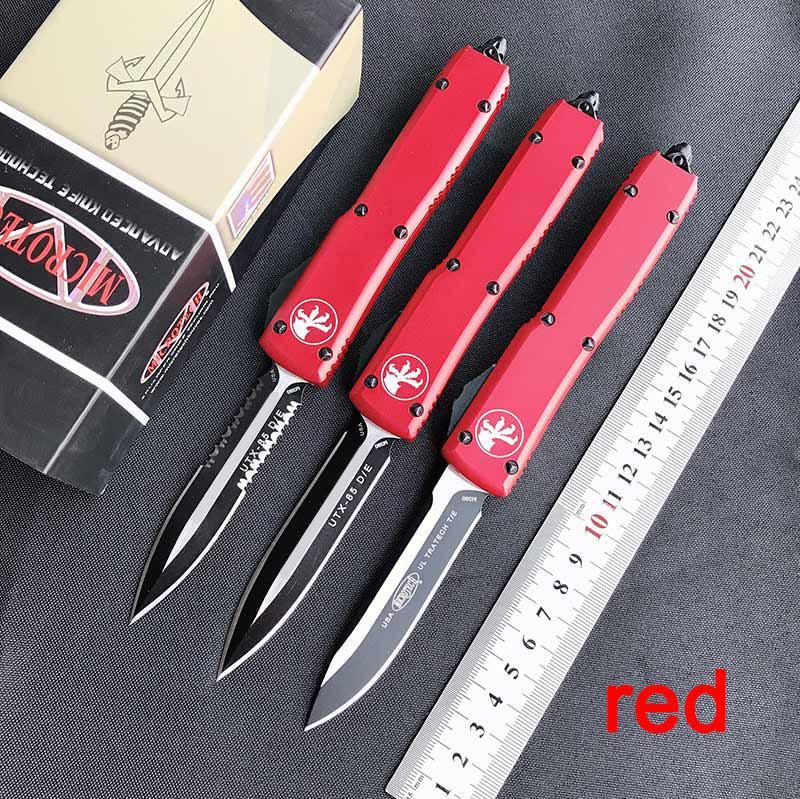 Новое прибытие МТ автоматический нож UTX по 85 двойного действия тактический нож карбида классе выключателя алюминий авиации красной ручкой карманные ножи