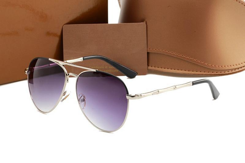 Gafas de sol de marca de las lentes al aire libre cortinas de bambú Marco de la forma PC Clásico Dama gafas de sol para las mujeres con la caja