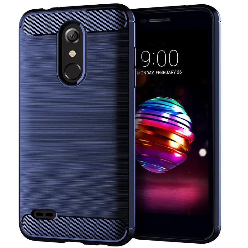 Para LG K11 Plus 2018 teléfono de la energía Caso cepillado de fibra de carbono textura suave TPU caja del teléfono de protección cubierta posterior