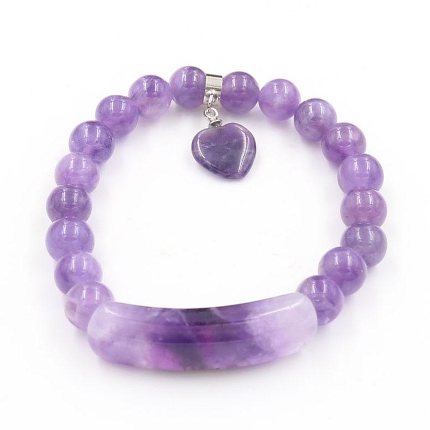 10 piezas de estilo romántico del amor del corazón Conectar Ojo de piedra redonda brazalete de cuentas de tigre para regalo cuarzo de la cereza Jewelr